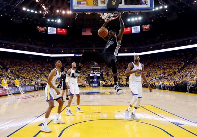 Warriors trounce Spurs without Kawhi Leonard for 2-0 series lead