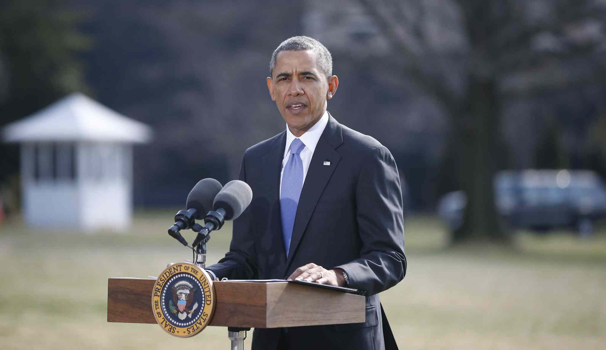 U.S. President Barack Obama makes a statement on Ukraine, Thursday, March 20. President Barack Obama said the U.S. is levying a new round of economic sanctions on individuals in Russia, both inside and outside the government, in retaliation for the Kremlin's actions in Ukraine.