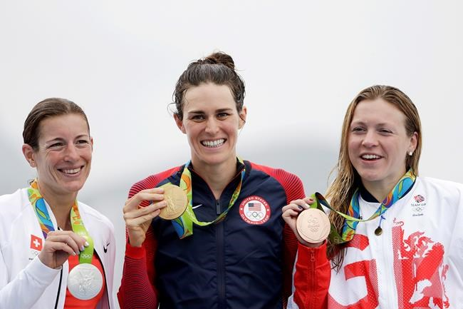 Medals awarded in Olympic women's triathlon