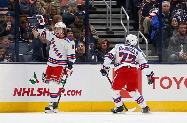 New York Rangers' Artemi Panarin, of Russia, celebrates his goal against the Columbus Blue Jackets during the second period of an NHL hockey game Thursday, Dec. 5, 2019, in Columbus, Ohio. The Rangers won 3-2. (AP Photo/Jay LaPrete)