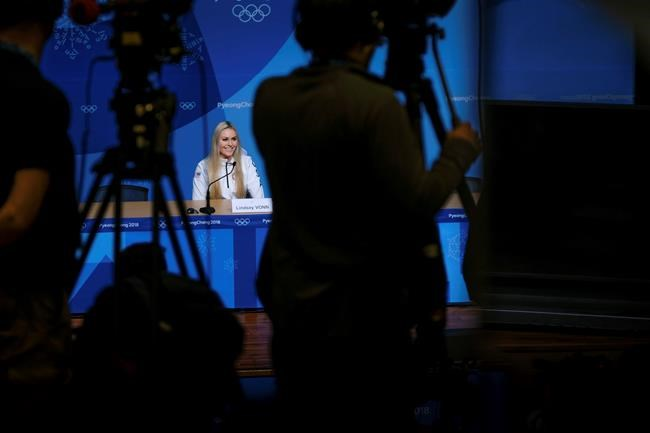 Alpine skier Lindsey Vonn, of the United States, answers questions during a press conference ahead of the 2018 Winter Olympics in Pyeongchang, South Korea, Friday, Feb. 9, 2018. (AP Photo/J. David Ake)
