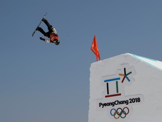 MaxParrot, of Canada, trains ahead of the 2018 Winter Olympics in Pyeongchang, South Korea, Thursday, Feb. 8, 2018. (AP Photo/Kin Cheung)