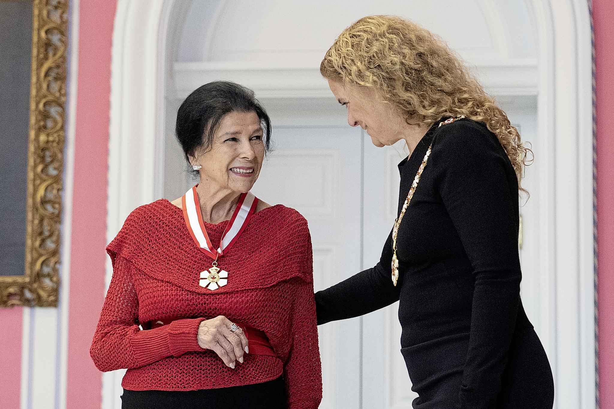Alanis Obomsawin, of Montreal, Que., is invested as a Companion of the Order of Canada by Governor General Julie Payette. THE CANADIAN PRESS/Chris Wattie