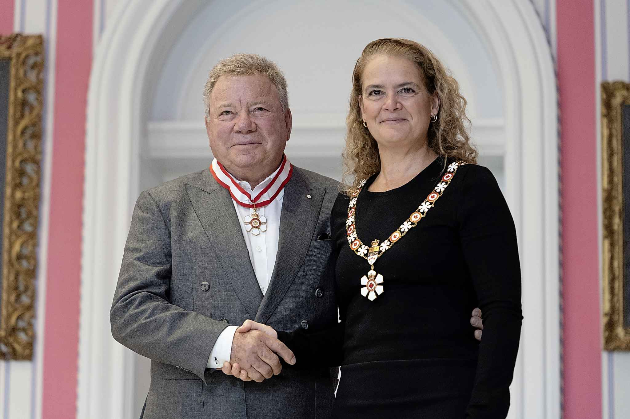 Actor William Shatner is invested as an Officer of the Order of Canada by Governor General Julie Payette during a ceremony at Rideau Hall in Ottawa on Thursday, November 21, 2019. THE CANADIAN PRESS/Chris Wattie