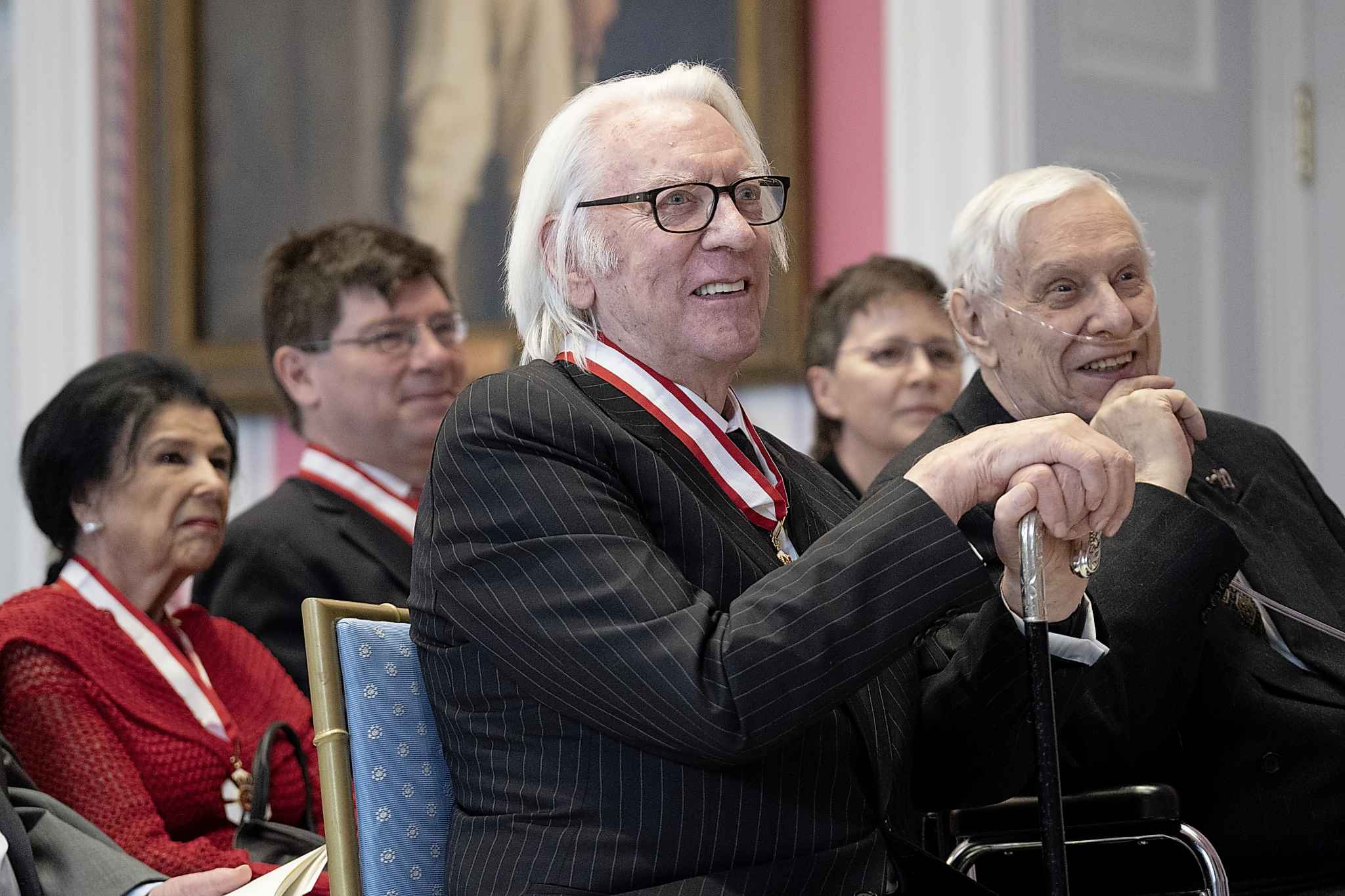 Actor Donald Sutherland reacts after being invested as a Companion of the Order of Canada. THE CANADIAN PRESS/Chris Wattie
