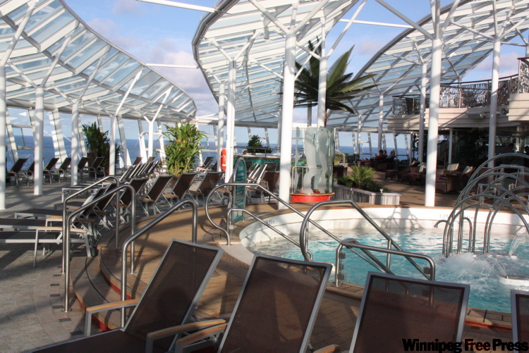The Solarium is an adults-only area on Oasis of the Seas that covers the bow of one deck and has a restaurant that serves healthy food.