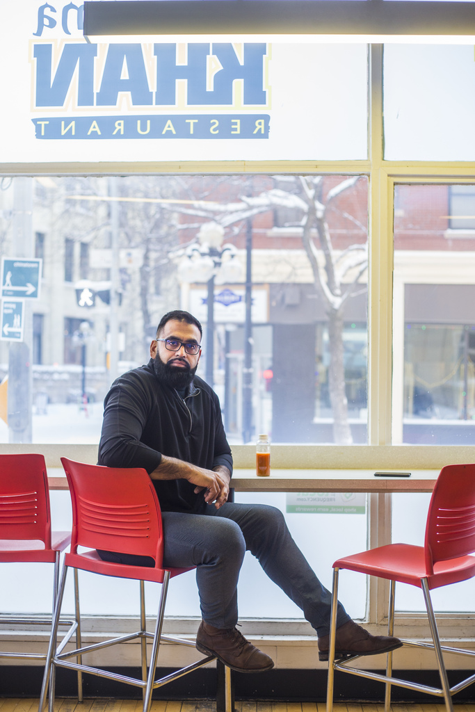 """Obby Khan, owner of Shawarma Khan, in his Exchange District restaurant: """"A lot of businesses suffered."""""""