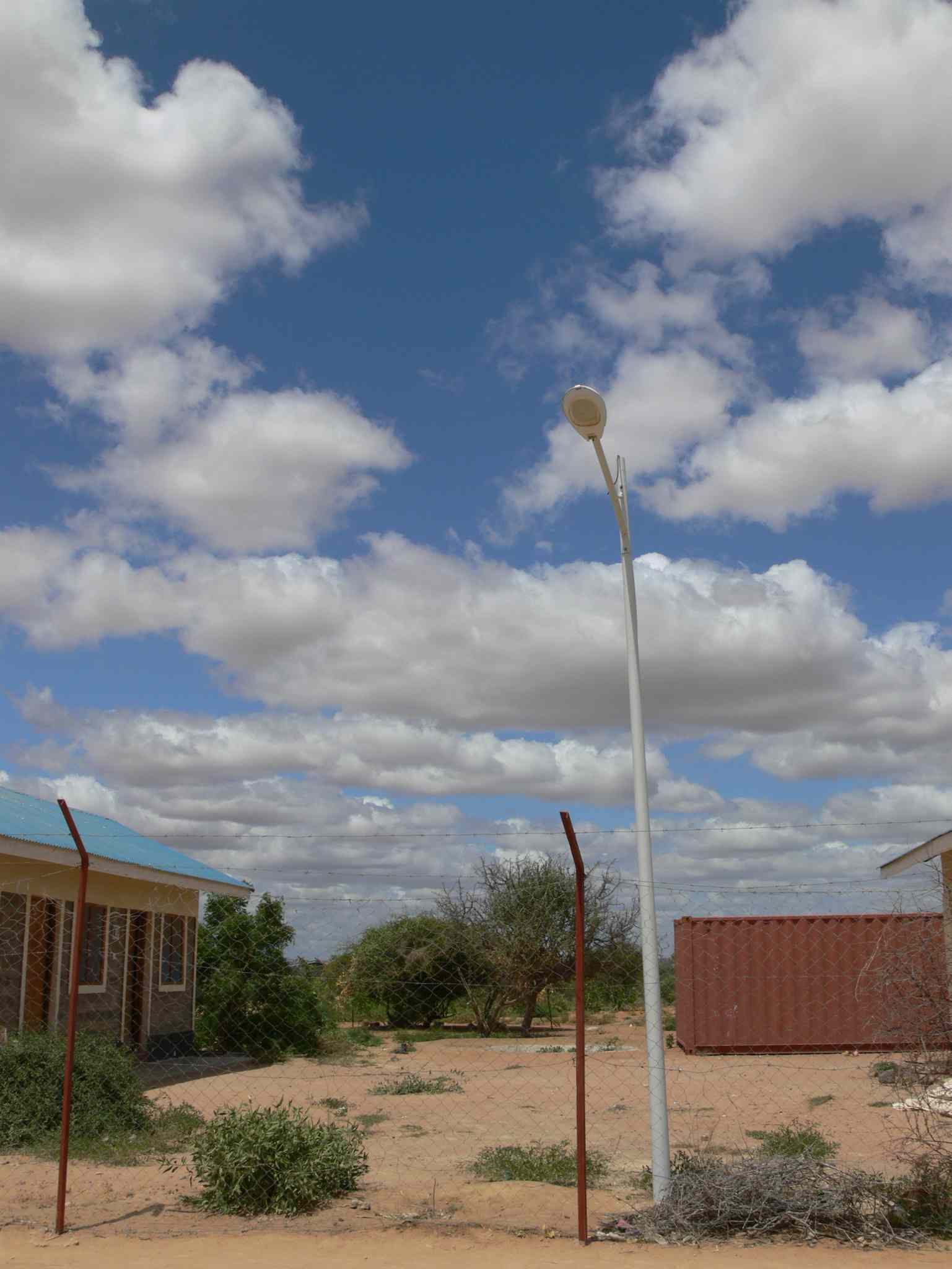 One of the solar-powered street lights paid for by the government of Canada at Ifo 2 refugee camp. The street lights are helping the security situation at the refugee camps in Dadaab.