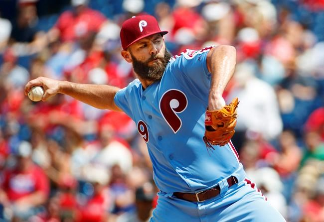 Philadelphia Phillies starting pitcher Jake Arrieta throws a pitch during the third inning of a baseball game against the San Francisco Giants, Thursday, Aug. 1, 2019, in Philadelphia. (AP Photo/Chris Szagola)