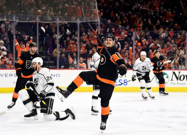 Philadelphia Flyers' Travis Konecny celebrates after scoring a goal during the second period of an NHL hockey game against the Los Angeles Kings, Saturday, Jan. 18, 2020, in Philadelphia. (AP Photo/Derik Hamilton)