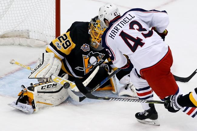 Fleury backstops Pens to Game 1 win over Jackets