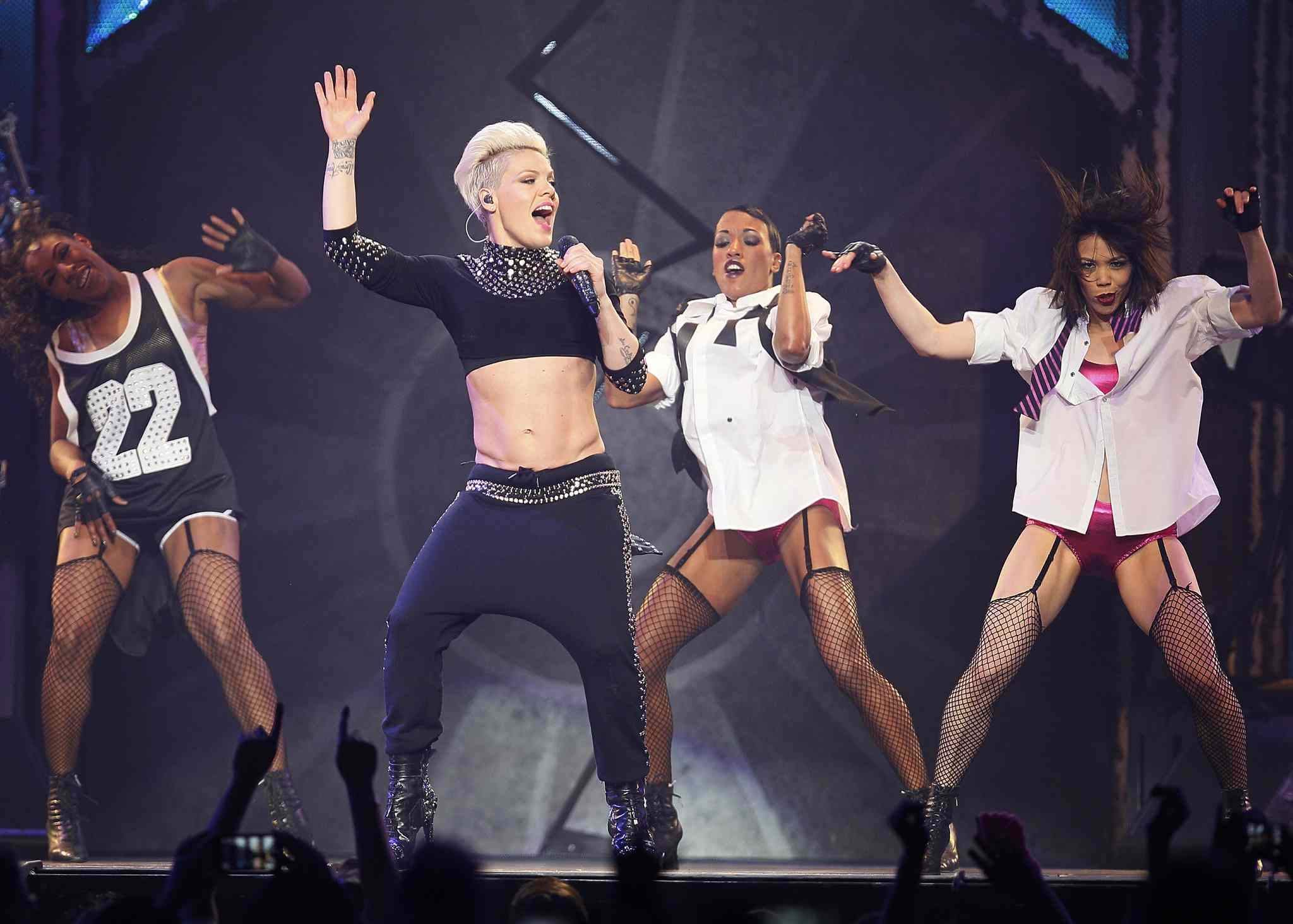 Pink's back-up dancers kept the energy alive throughout the superstar's sold-out MTS Centre show Tuesday.