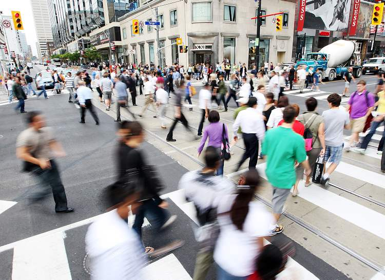 The pedestrian scramble only makes sense where large numbers of pedestrians accumulate and there is enough space on the sidewalks to gather them.