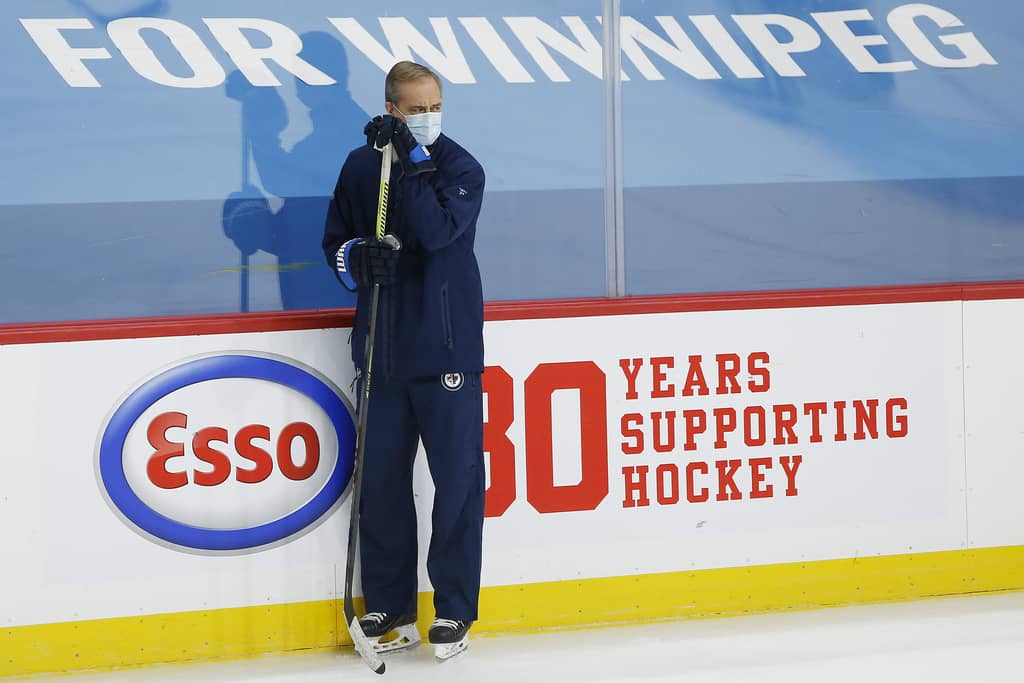 Winnipeg Jets head coach Paul Maurice watches his team at practice.