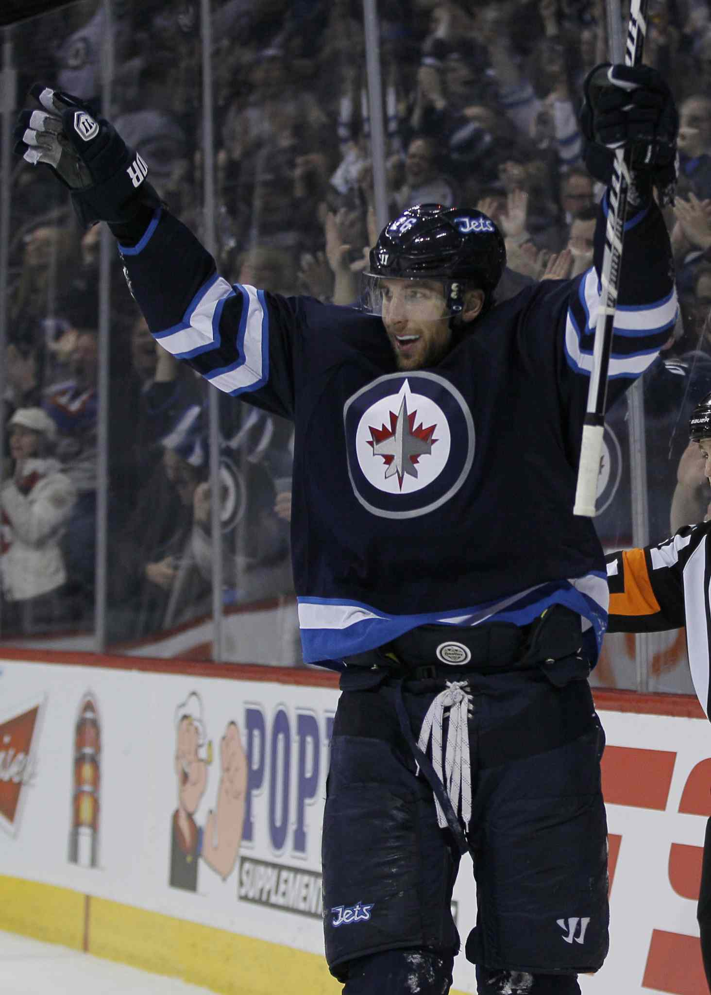 Winnipeg Jets' Blake Wheeler's (26) celebrates his goal against the Nashville Predators during second period NHL action in Winnipeg on Tuesday.