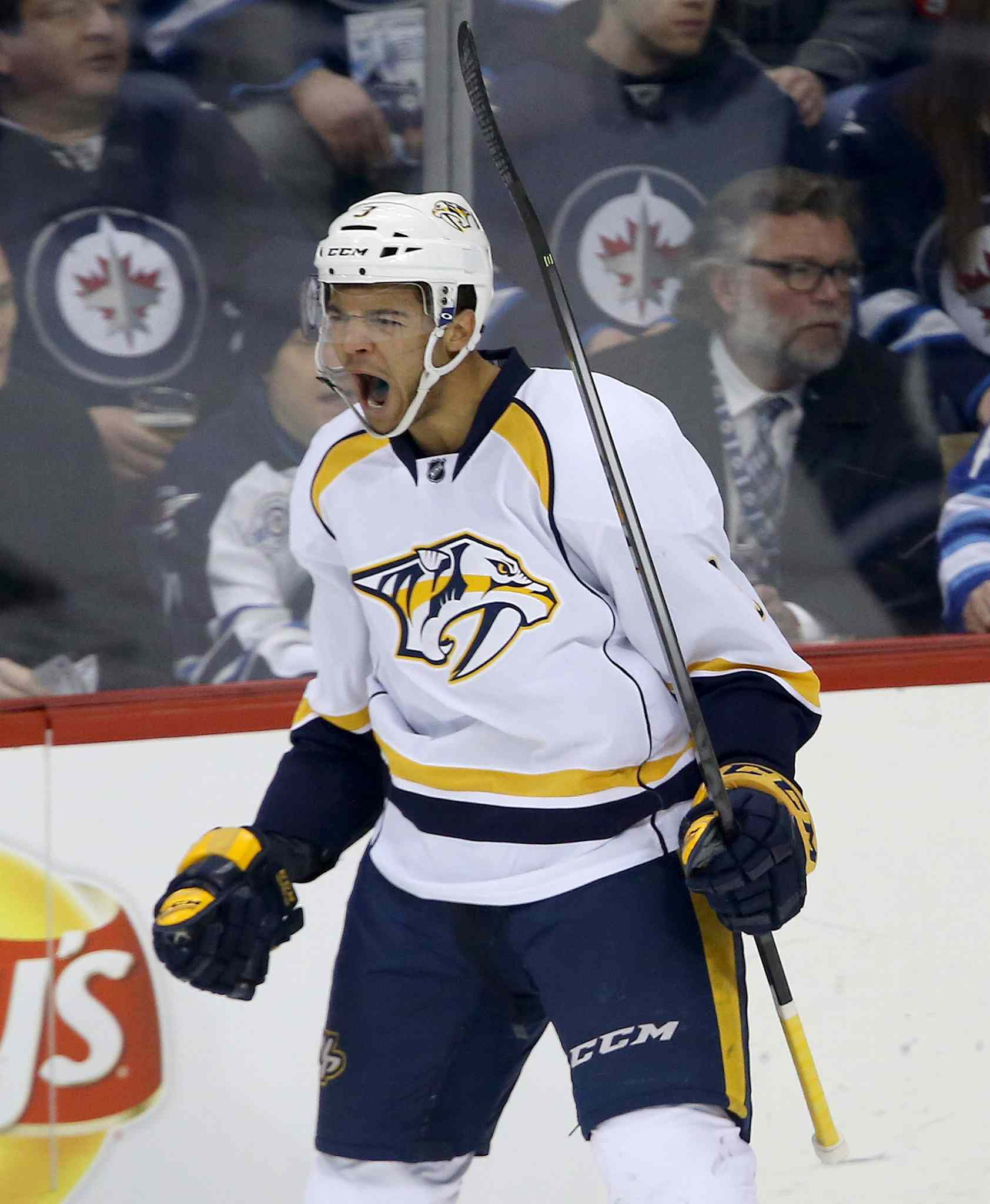 Nashville Predators' Seth Jones (3) celebrates after scoring a first-period goal against the Winnipeg Jets Tuesday.