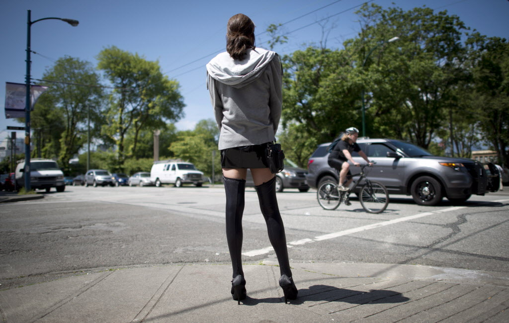 A sex trade worker is pictured in downtown Vancouver.