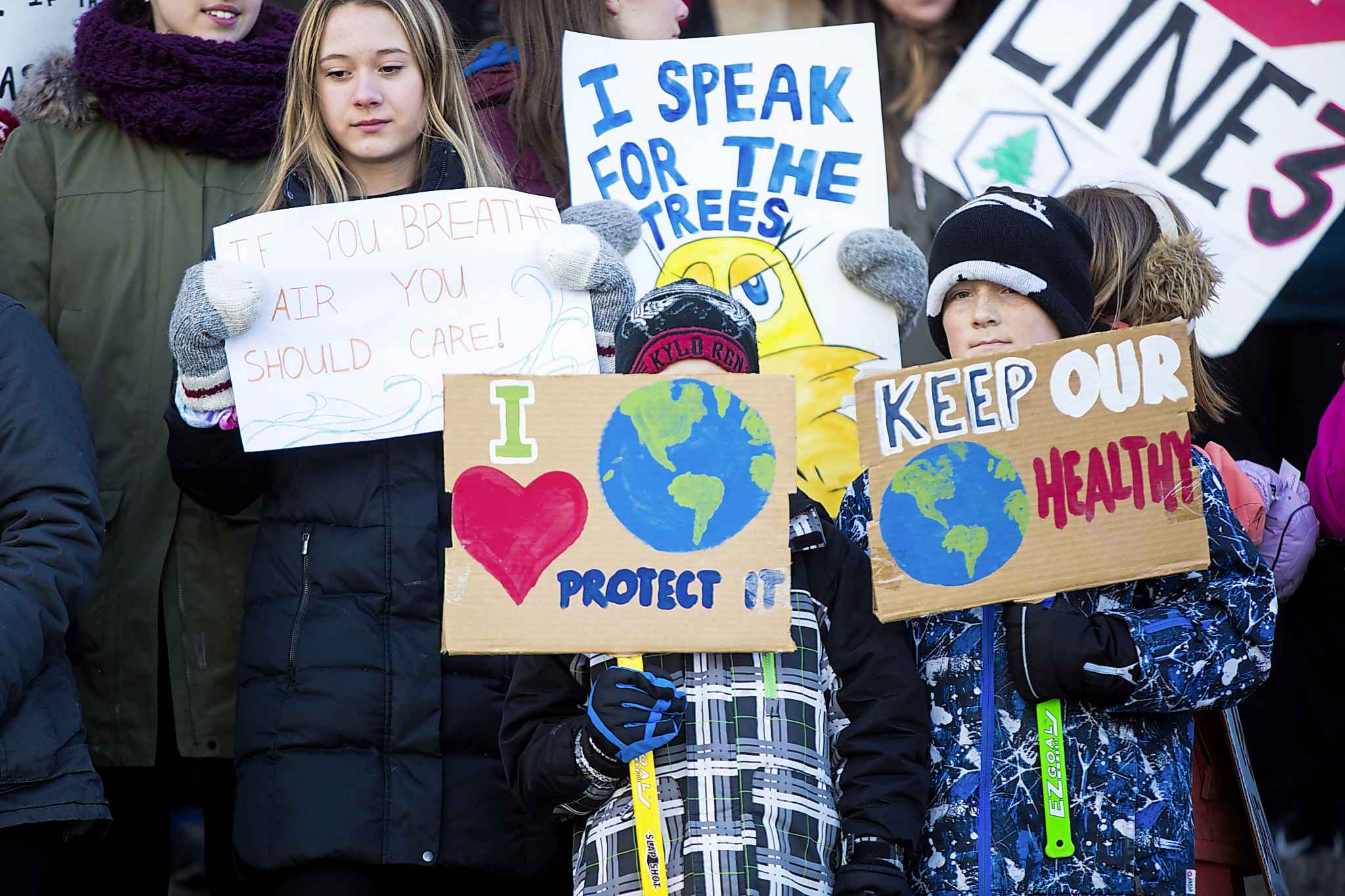 A few hundred school-age students in Winnipeg answered a call from 16-year-old Swedish environmental activist Greta Thunberg to join worldwide protests against government inaction on climate change.