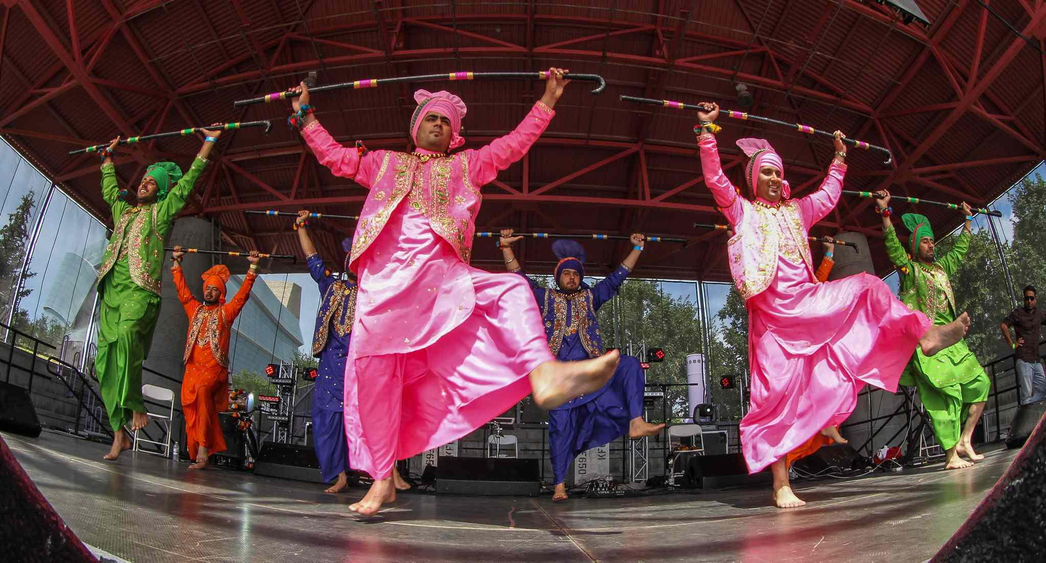 The dance group Hollywood Bhangra performs on the Scotiabank Stage at The Forks during Punjab Day festivities Sunday.