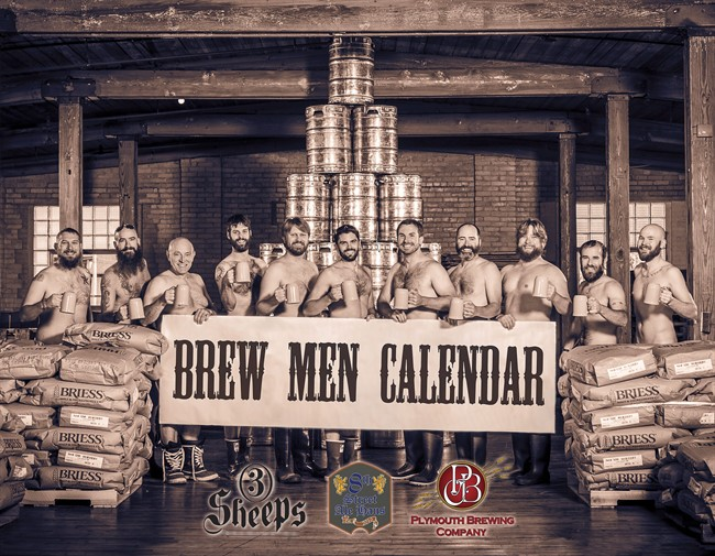 This undated photo provided by Brew Men Calendar, shows the front cover of the 2015 Brew Men Calendar featuring brewers from Sheboygan County, Wis. The 2015 Brew Men Calendar features brewing professionals from 3 Sheeps Brewing, 8th Street Ale Haus and Plymouth Brewing Co. Proceeds from calendar sales will be donated to the Movember Foundation, a non-profit organization focused on men's health issues, including prostate and testicular cancer. (AP Photo/Brew Men Calendar, Mike Wiesman) MANDATORY CREDIT