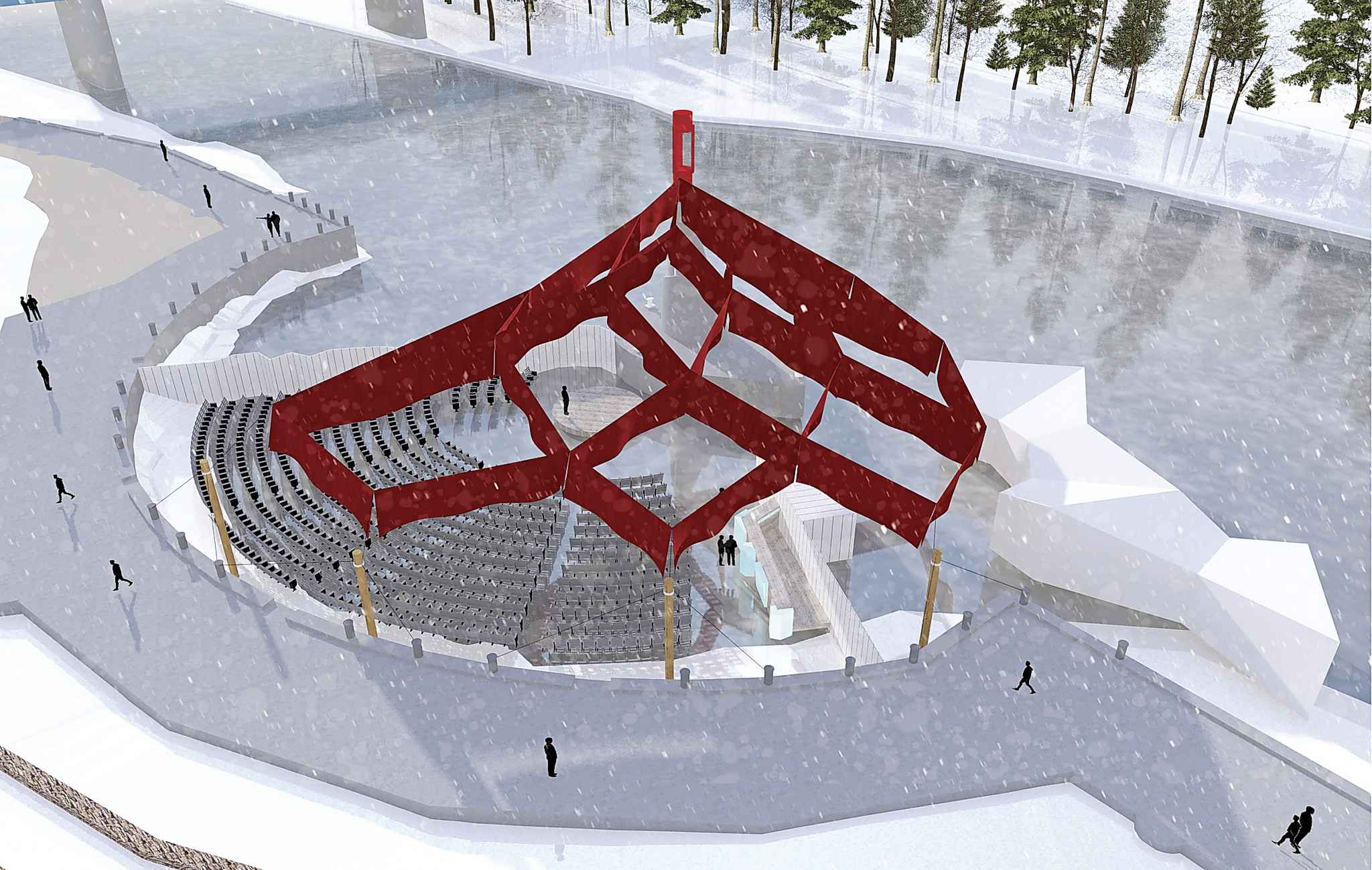 Glacial Time is being held in Pavilion Sub-Zero, a custom-designed amphitheatre on the Assiniboine River at The Forks in collaboration with architect and warming huts pioneer Peter Hargraves. (Supplied)