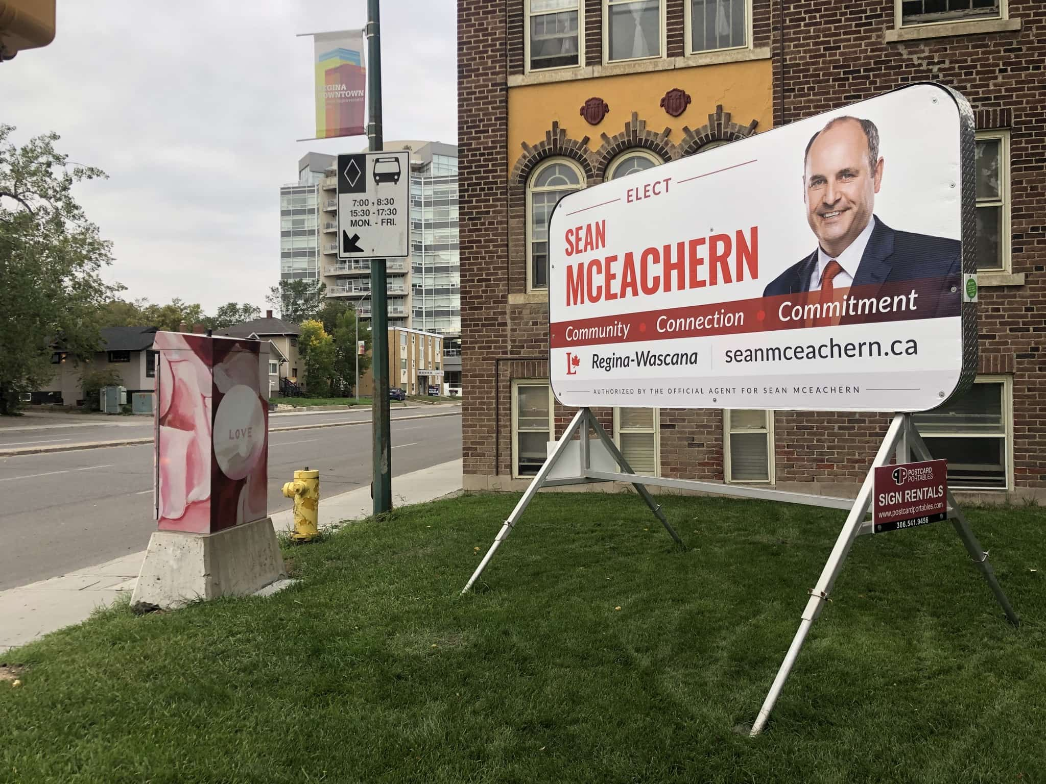 Liberal candidate Sean McEachern is hoping to win the Regina-Wascana riding against Conservative incumbent Michael Kram who unseated former Liberal MP Ralph Goodale in 2019. (Dylan Robertson / Winnipeg Free Press)