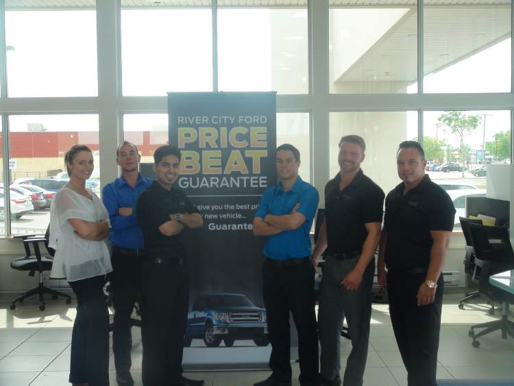River City Ford sales reps, from left, Michelle Tavares, Sam Scammell, Sayed Dost, Christian Steeds, Addison Malkovich and Dave Barthelette.