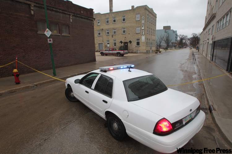 Police had taped off an area around Portage Avenue and Young Street this morning due to a homicide investigation.
