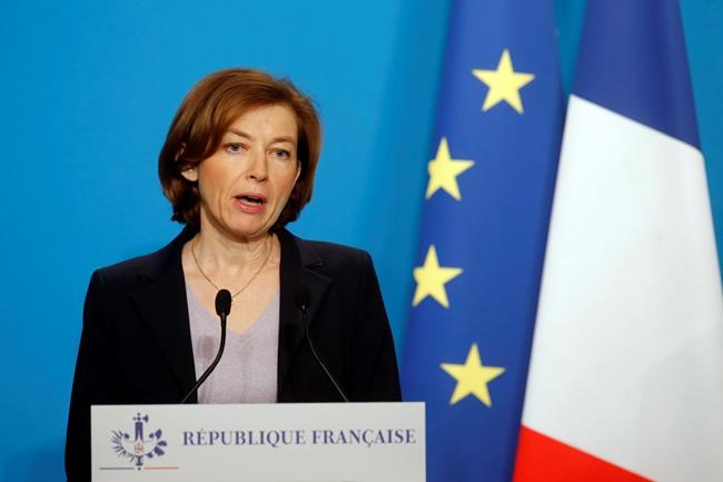 French Defense Minister Florence Parly gives an official statement in the press room after attending an emergency meeting with French President Emmanuel Macron at the Elysee Palace, in Paris, France, Saturday, April 14, 2018. The United States, France and Britain have launched military strikes in Syria to punish President Bashar Assad for an apparent chemical attack against civilians and to deter him from doing it again. (AP Photo/Michel Euler, Pool)