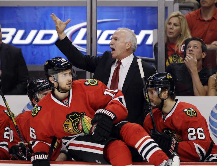 Chicago Blackhawks coach Joel Quenneville appears none too pleased.