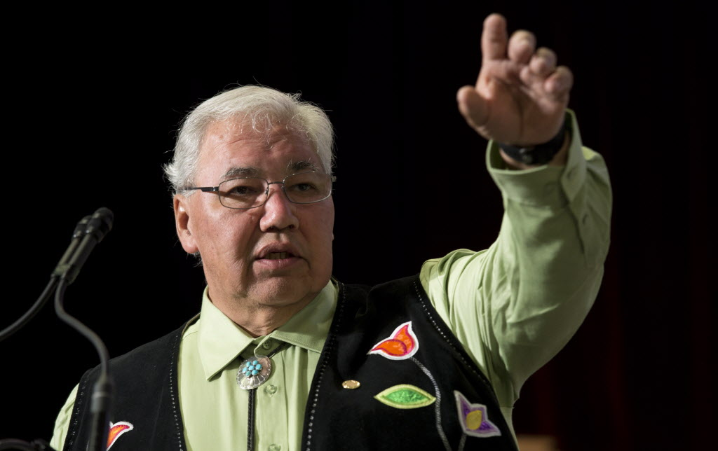 Truth and Reconciliation Commission Chair Justice Murray Sinclair speaks during the Grand entry ceremony during the second day of closing events for the Truth and Reconciliation Commission in Ottawa, Monday.