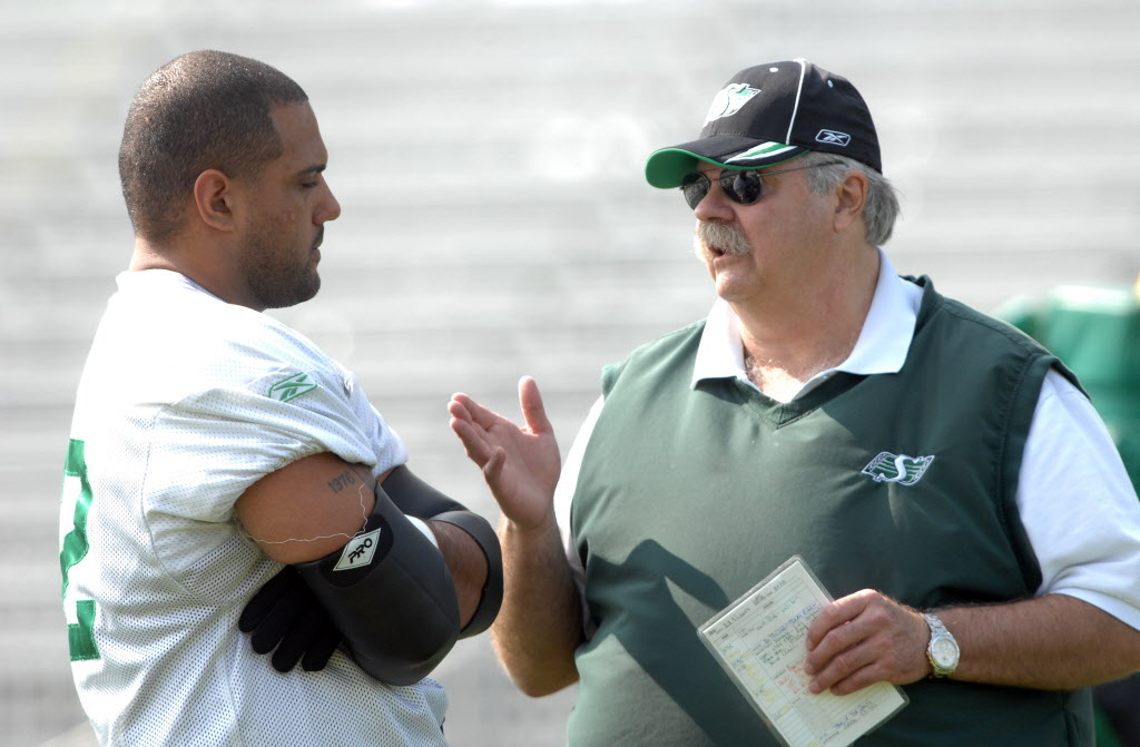 Offensive Line Coach Bob Wylie, right, last coached in the NFL with Oakland (2011) and Denver (2010).