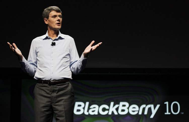 Research in Motion Thorsten Heins President and CEO speaks about the new BlackBerry 10 in San Jose, Calif., Sept. 25, 2012. Research In Motion says it will officially launch its long-awaited new BlackBerry 10 operating system on Jan. 30.