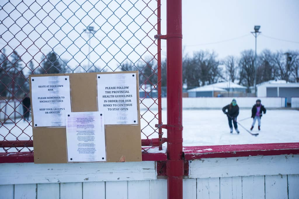 Signage near the entrance of the Windsor Community Centre rink. Individuals are responsible for following public health rules while at the outdoor public facility.