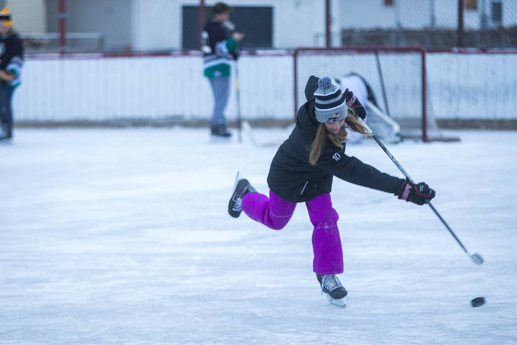 Kennedy Carriere, 11, skates at the Windsor Community Centre rink in Winnipeg on Thursday.