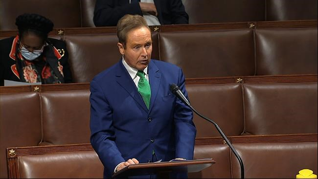 In this image from video, Rep. Brian Higgins, D-N.Y., speaks on the floor of the House of Representatives at the U.S. Capitol in Washington, Thursday, April 23, 2020. Higgins, the U.S. congressman who wants a plan to ease travel restrictions at the Canada-U.S. border, is taking the ensuing backlash in stride. THE CANADIAN PRESS/AP-House Television via AP