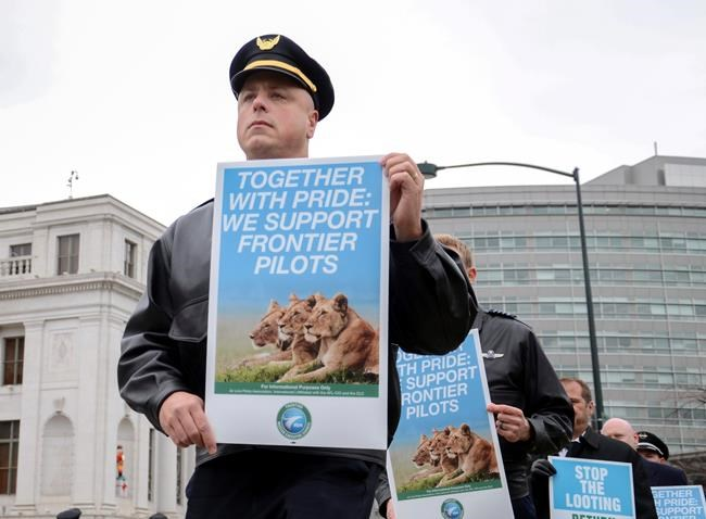 About 350 pilots, including a handful from other airlines, stage an informational picket outside Denver's city hall in Denver, Colo., Thursday, Dec. 7, 2017. The pilots are trying to win support from the public as they push for higher pay from Denver-based discount carrier, Frontier Airlines. (AP Photo/ Tatiana Flowers)