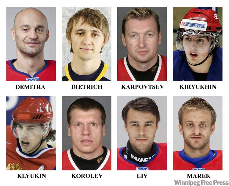 Members of the Lokomotiv Yaroslavl hockey team who died in a plane crash, Wednesday in Russia. Top row, from left, Pavol Demitra, Robert Dietrich,  assistant coach Alexander Karpovtsev and Andrei Kiryukhin. Bottom row, from left, Nikita Klyukin, assistant coach Igor Korolev, Stefan Liv and Jan Marek.