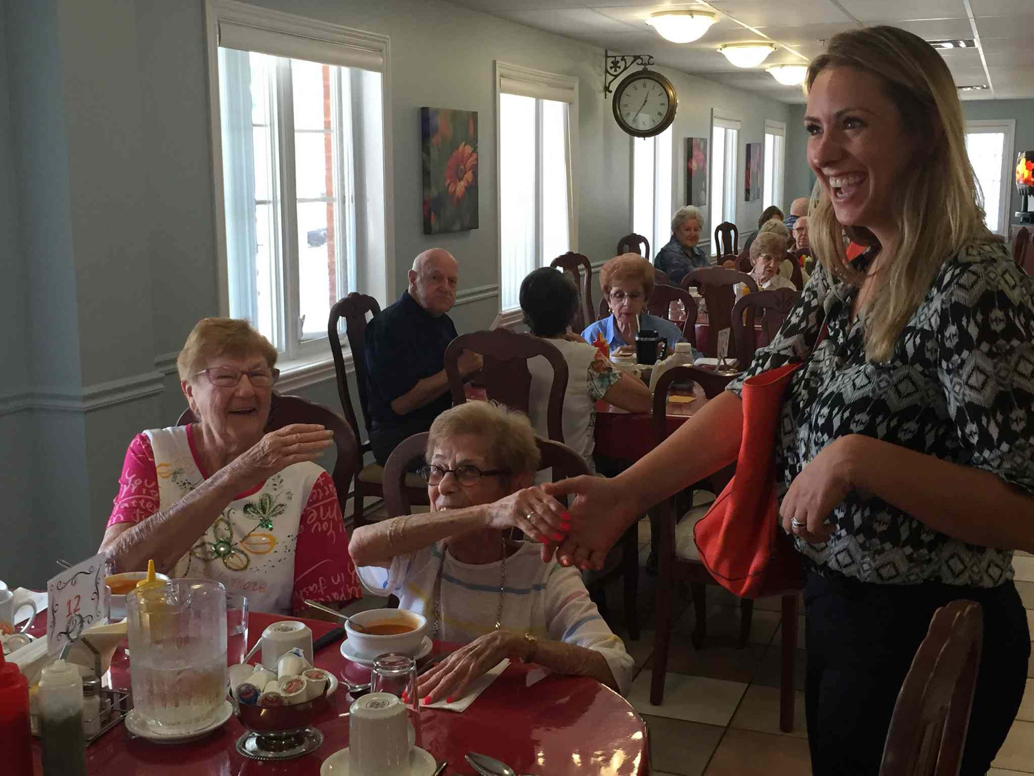 Ruth Ellen Brosseau campaigns for re-election at a seniors' residence in Berthierville, Que. August 15.