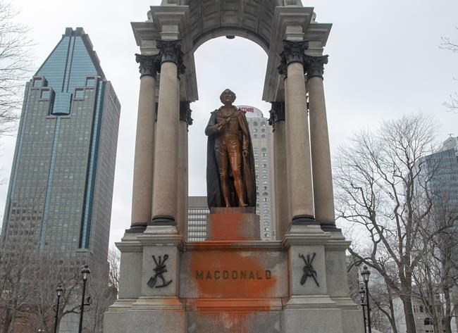 The statue of John A. Macdonald was vandalized again Thursday, March 21, 2019 in Montreal. A group claiming responsibility says they want the statue removed alleging the former Primee Minister was a racist. THE CANADIAN PRESS/Ryan Remiorz
