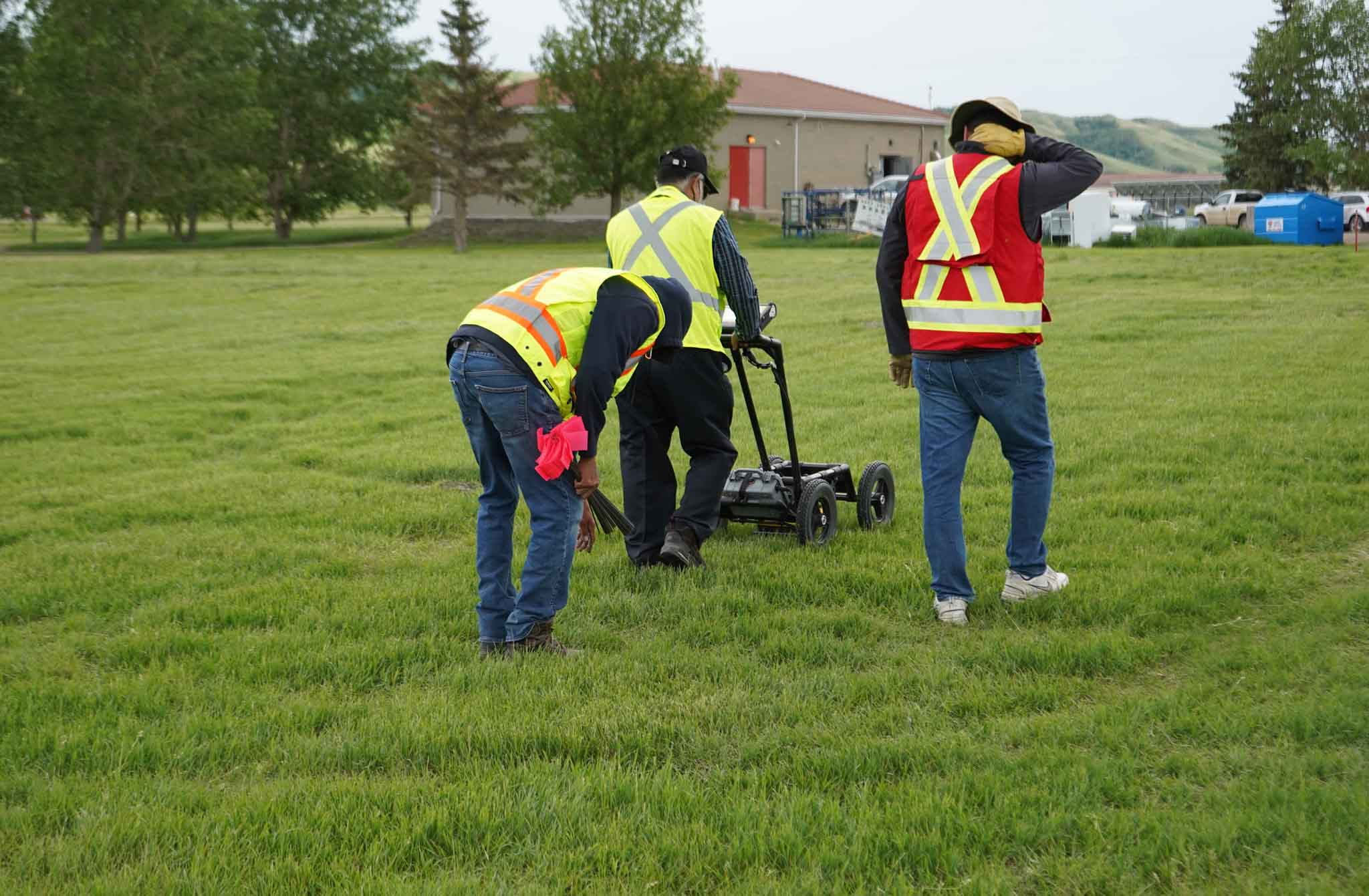 A ground-penetrating radar is used to record hits of what are believed to be 751 unmarked graves near the grounds of the former Marieval Indian Residential School on the Cowessess First Nation, Sask.