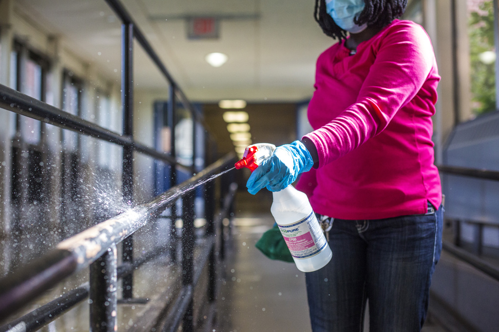 Boateng is one of eight maintenance staff at Churchill High School tasked with cleaning all the high-touch surfaces within the school's 140,000-square-foot campus.