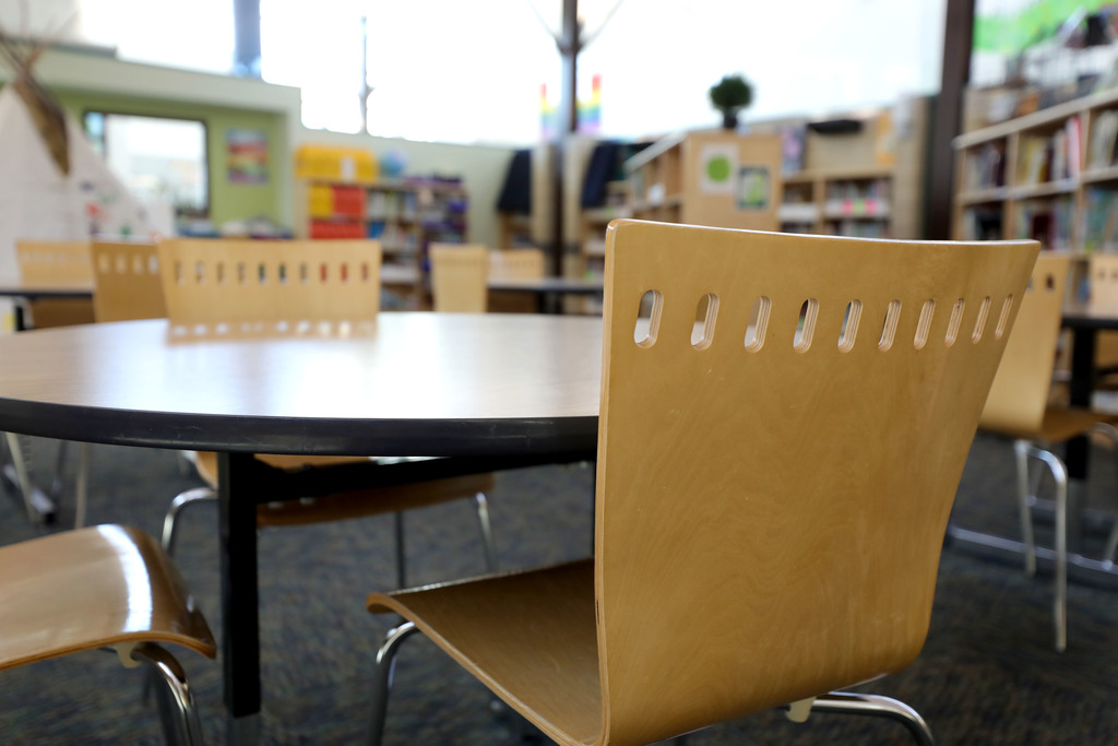 The library at Riverbend Community School in northwest Winnipeg sits empty on Thursday. Schools across Manitoba start their spring break early, at the end of the day Friday but will be out of school much longer due to the Coronavirus outbreak.