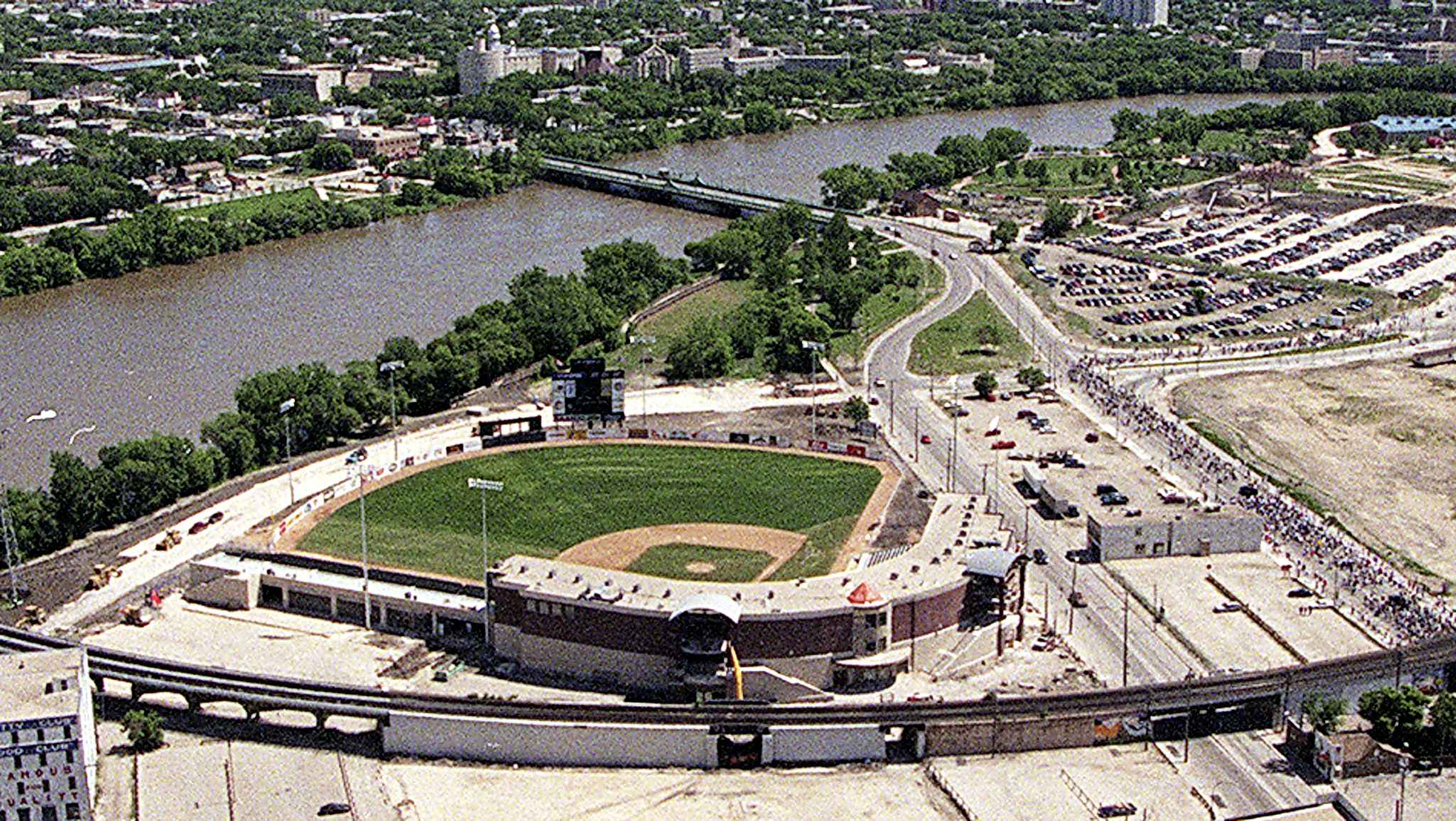 The Goldeyes' newly-completed ballpark at the Forks in downtown Winnipeg was built in 1999 for $20M.