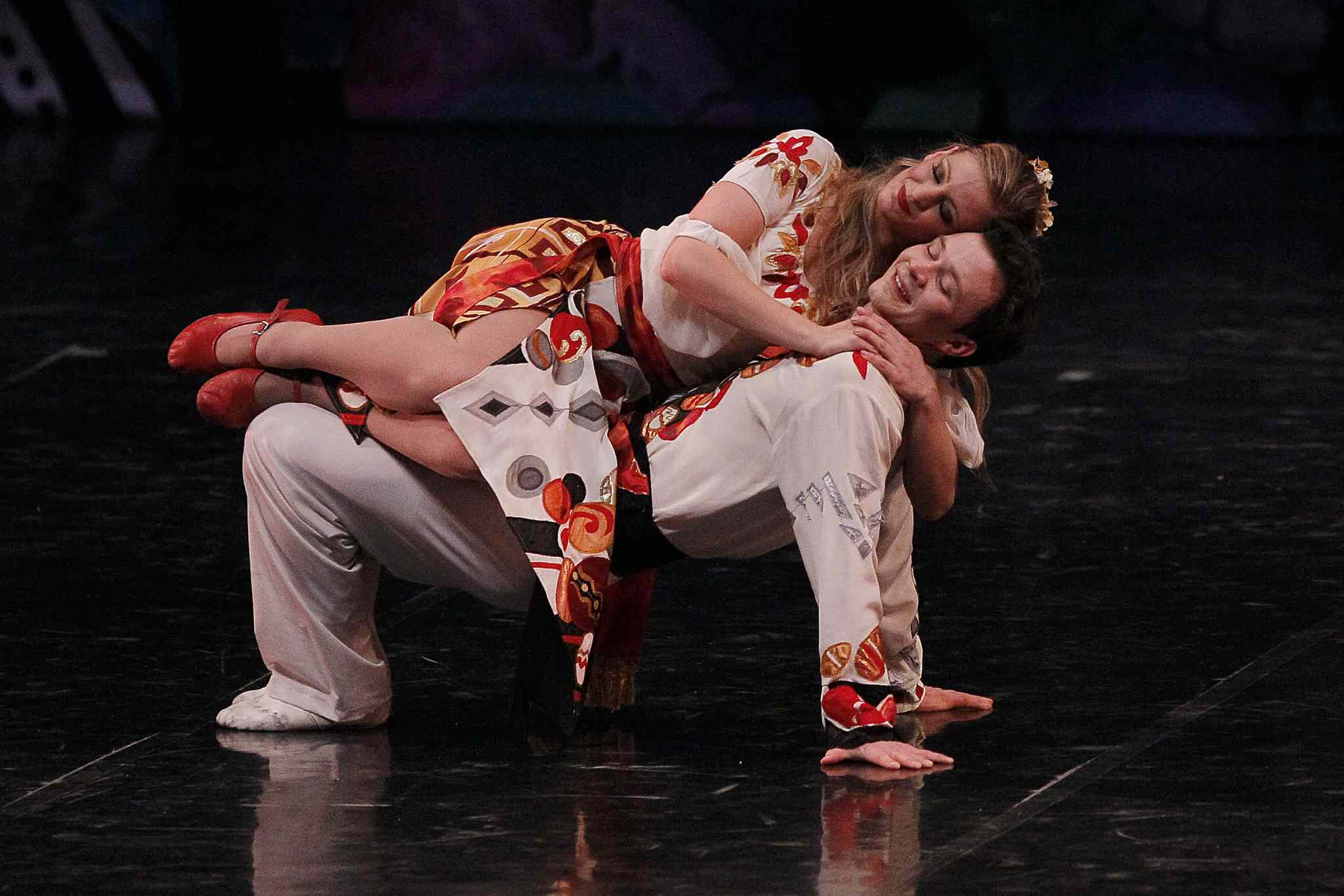The Shumka Ukrainian Dancers perform at Winnipeg's Centennial Concert Hall Tuesday night.