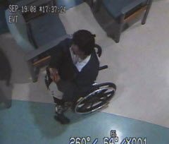 Brian Sinclair, in a screen grab from surveillance footage of his time at the Winnipeg Health Sciences Centre, died after waiting 34 hours in the waiting area in his wheelchair.