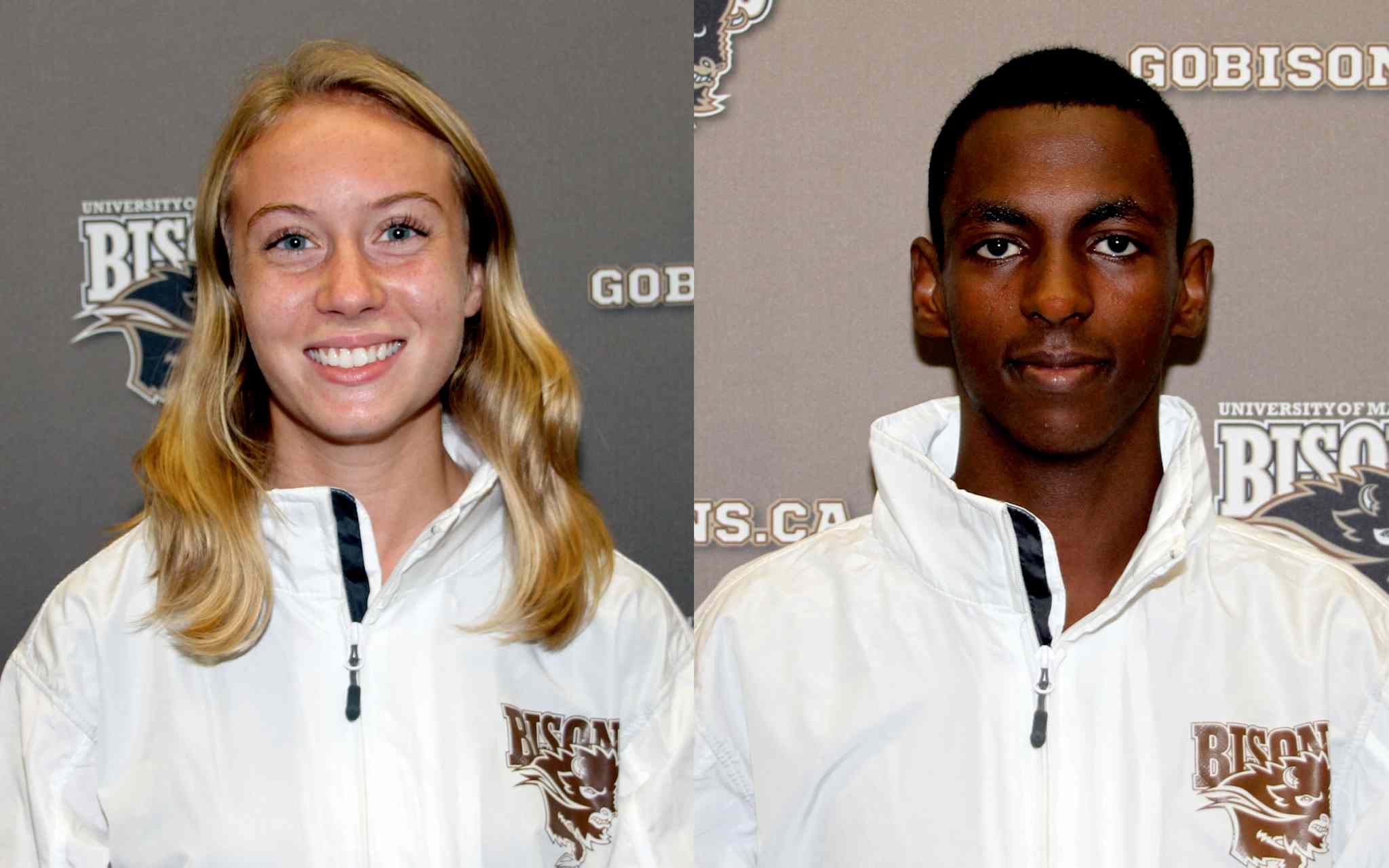 Rebekah Sass (left) and Abduselam Yussuf are the University of Manitoba's Athletes of the Week for the week ending Nov. 10.
