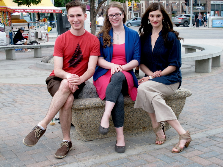 From left: Joseph Tritt, Ksenia Broda-Milian, and CindyMarie Small participated in a three-week apprenticeship with Rainbow Stage in mid-May. They say their experience will definitely benefit their future careers.