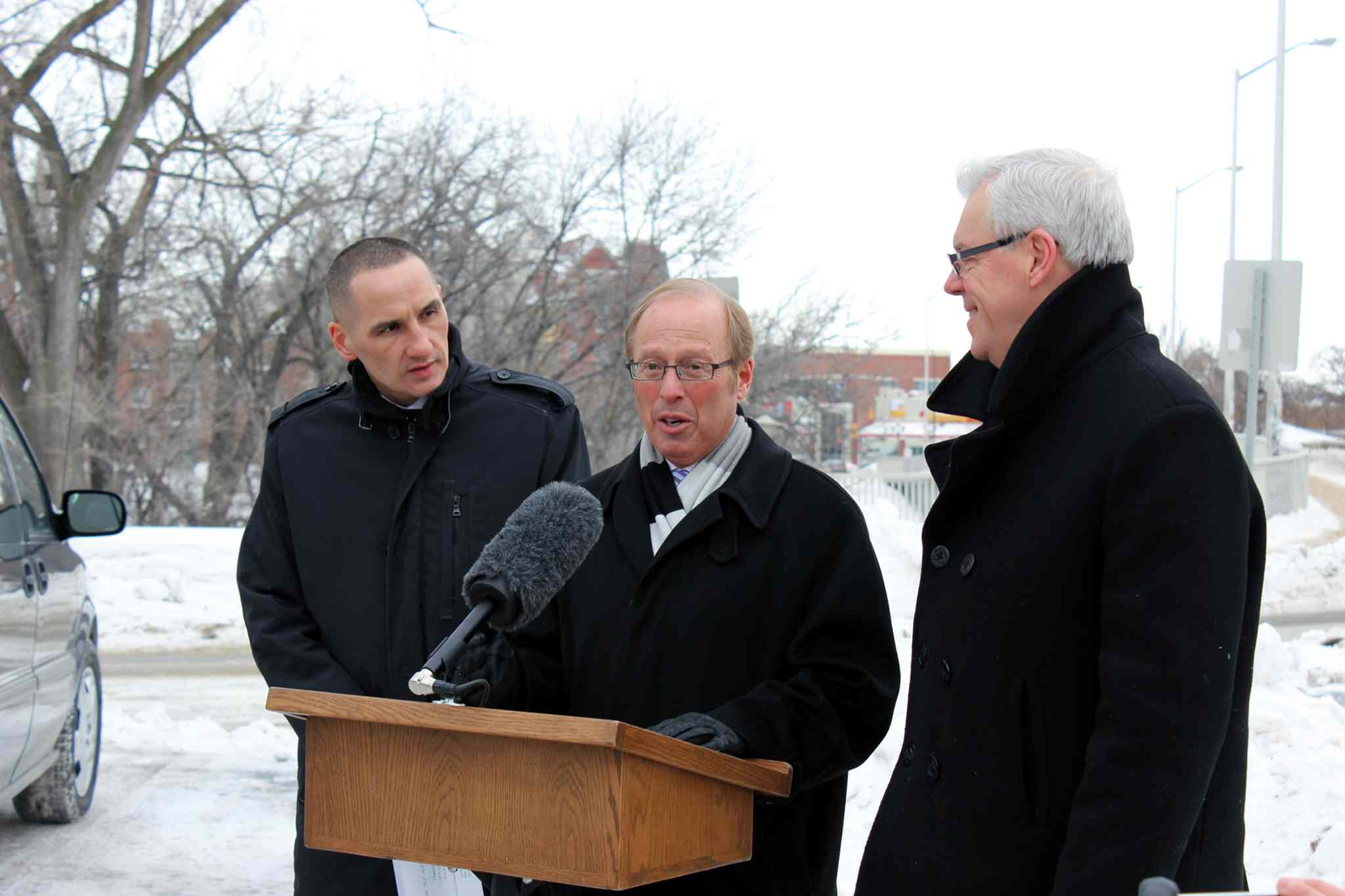 From left, Kevin Chief, provincial minister of children and youth opportunities and minister responsible for relations with the City of Winnipeg, Winnipeg mayor Sam Katz, and Manitoba Premier Greg Selinger recently announced a $66-million boost over the next five years to renew Winnipeg streets, backlanes and sidewalks.