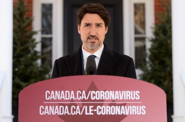 Prime Minister Justin Trudeau addresses Canadians on the COVID-19 pandemic from Rideau Cottage in Ottawa on Friday, March 27, 2020. THE CANADIAN PRESS/Sean Kilpatrick